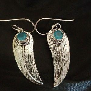 Blue topaz feather earrings